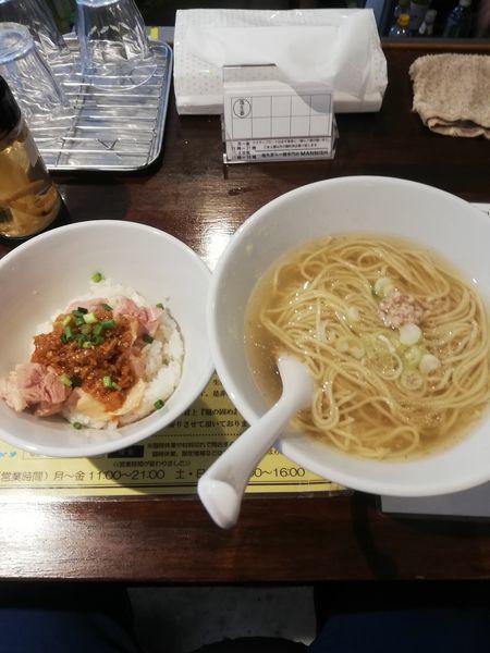 「限定A  かけそば+よだれ鶏ご飯 950円」@塩生姜らー麺専門店MANNISHの写真