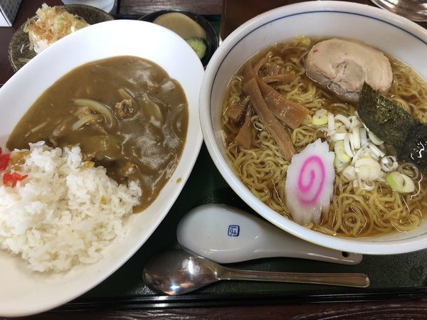 「A・ラーメン(大盛)+カレーライス」@拉麺 定食 幻驢芭 -MaHoroba-の写真