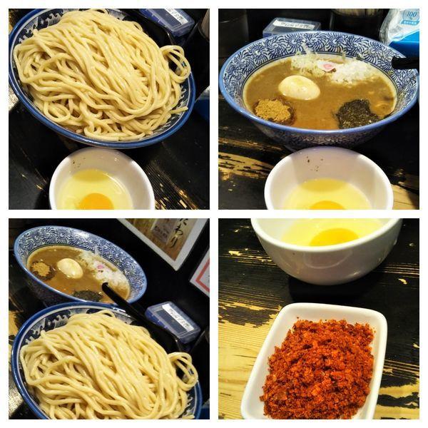 「辛つけ麺特盛+生卵」@狼煙 〜NOROSHI〜の写真