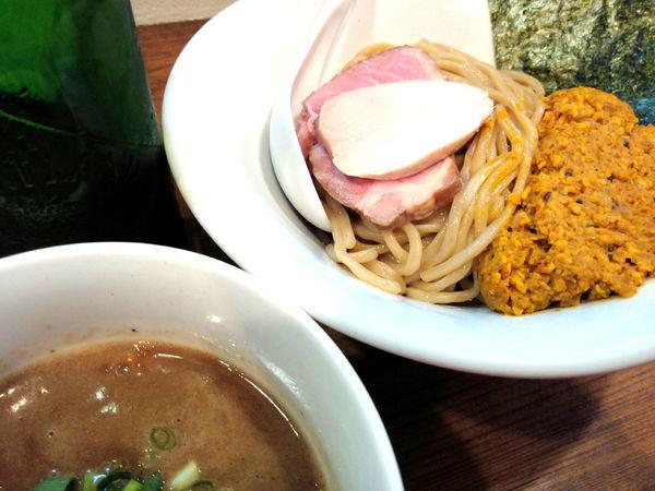 「つけ麺(並)¥750・アチャーリチキンキーマ¥200」@Trigo(トリーゴ)の写真