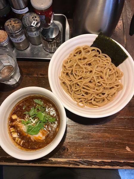 「ベジポタ 辛つけ麺 あつもり 大辛・胚芽麺 850円」@二代目えん寺の写真