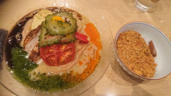 「冷やしカレーそば+キーマカレー飯(それぞれ限定)」@饗 くろ㐂の写真