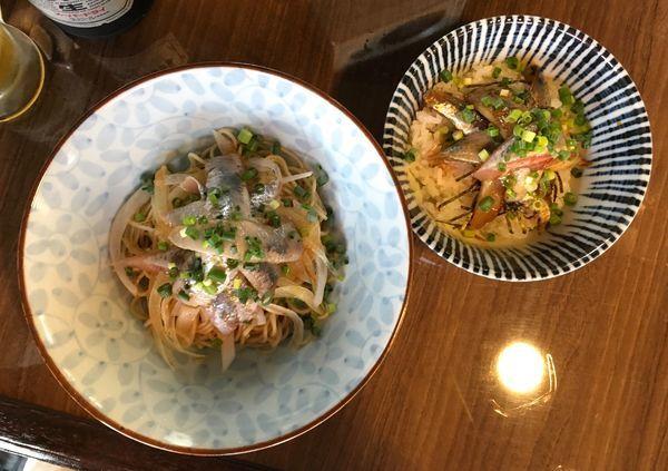 「アサヒスーパードライ→いわしそば→いわし丼」@寿製麺よしかわ 保谷店の写真