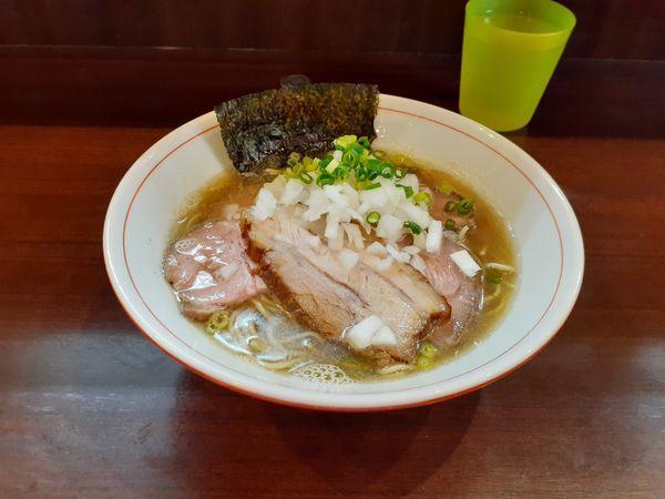 「煮干し蕎麦(塩)+チャーシュー 和え玉」@零一弐三の写真