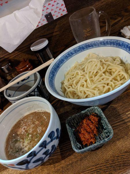 「辛つけめん+生ビール」@燦燦斗の写真