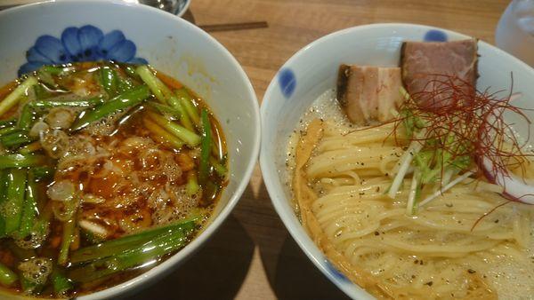 「ニラとイカ煮干しの辛つけ麺(限定、1000円)」@Niiの写真