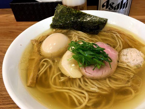 「アサヒスーパードライ → 味玉地鶏(塩)」@自家製麺 純の写真
