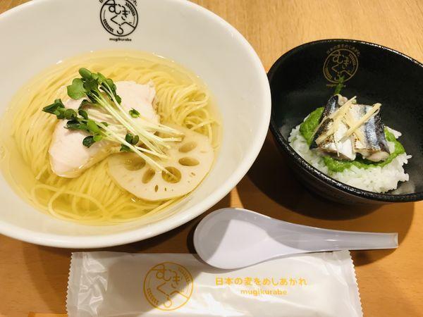 「柴崎亭 別撰 塩煮干そば & 炙り秋刀魚ご飯 ¥1000」@むぎくらべの写真