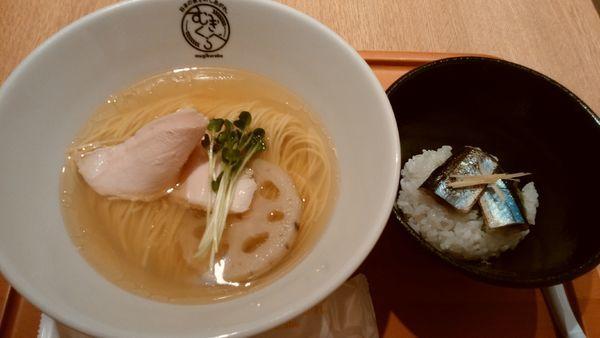 「【柴崎亭】別撰塩煮干そば(炙り秋刀魚ご飯付)¥1000-」@むぎくらべの写真