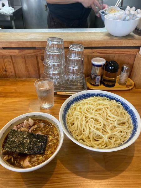 「つけ麺、中盛り、辛味、小チャーシュー」@自家製中華そば としおかの写真