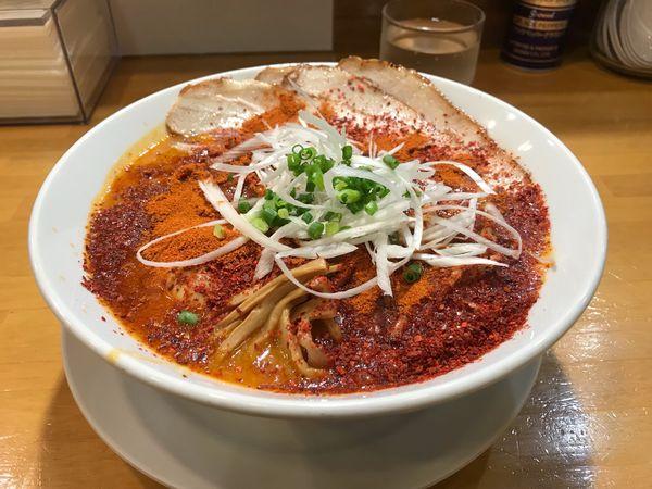 「赤鬼 大盛」@自家製中華そば 麺の虜の写真