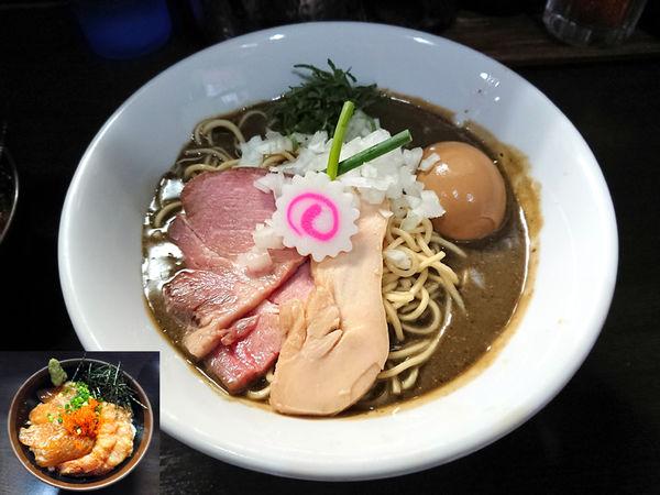 「濃密な煮干しそば+鮮魚の漬け丼」@中華そば いづるの写真