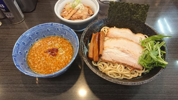 「味噌つけ麺(中)950円 + チャーシュー丼 300円」@ラーメンつけ麺 奔放の写真