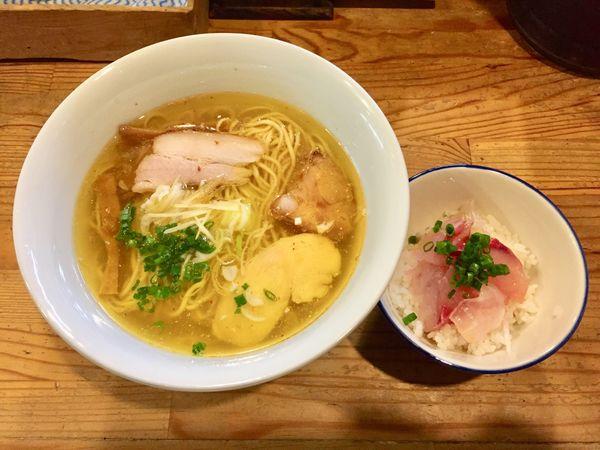 「【限定】塩中華そば (牡蠣の塩そばのスープ)+ヘダイごはん」@麺屋KABOちゃんの写真