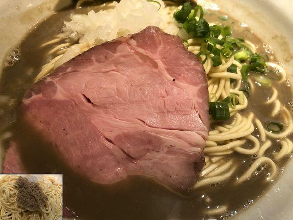 「煮干そば極+ニボ玉」@麺屋 烈の写真
