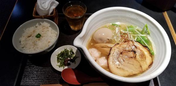 「銀笹らーめん塩+玉子+半鯛めし」@麺処 銀笹の写真