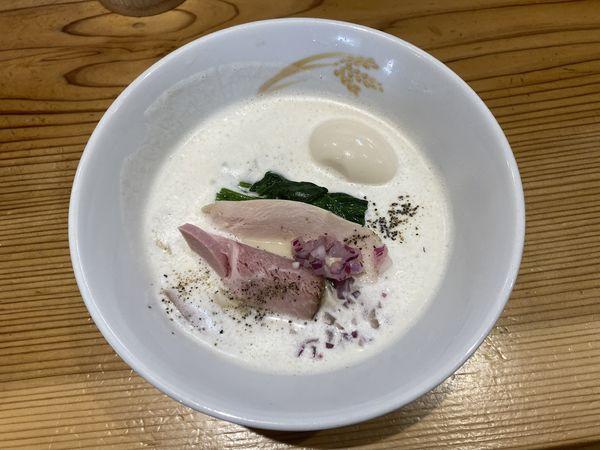 「名古屋コーチン泡白湯800+煮卵120」@麦の道 すぐれの写真