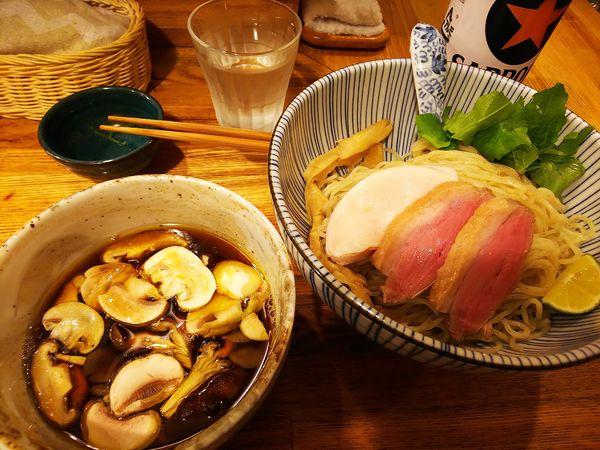 「鴨と茸の淡麗つけそば」@中華そば きなりの写真