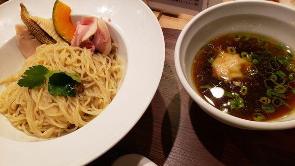 「鶏とポルチーニ茸の醤油つけSOBA 1000円」@銀座 篝 本店の写真