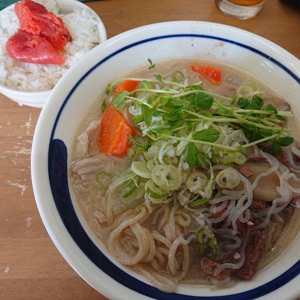 「ゴールデンデン縞腸S和牛脛&筋乗せ2000円明太子ご飯300」@MENYA 食い味の道有楽の写真
